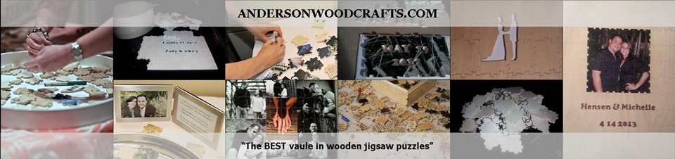 Custom wooden jigsaw puzzles and wedding guest book puzzles